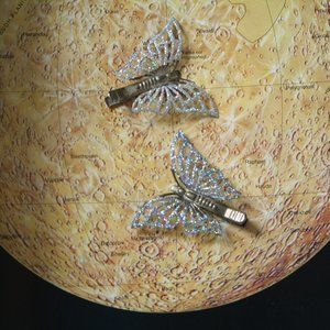 Retro Glitter Butterfly Hairclips